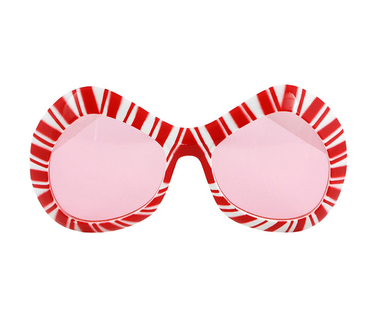 Red and White Mod Candy Cane Glasses