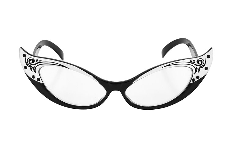 0336fe9da81 Black and White Vintage Cat Eye Glasses   Costumes Life