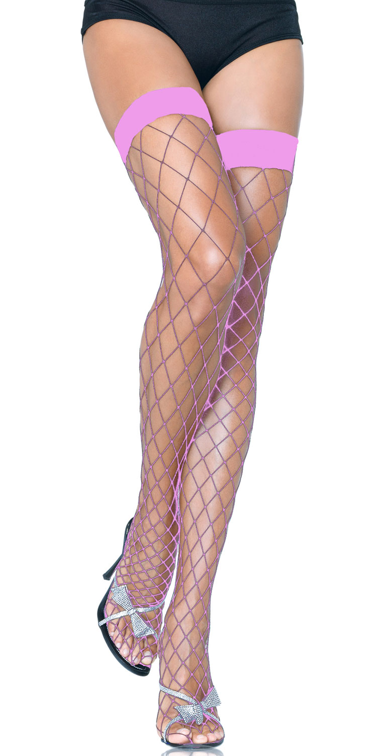 Baby Pink Fence Net Thigh Highs