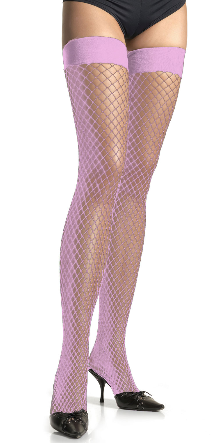 Baby Pink Industrial Net Thigh Highs