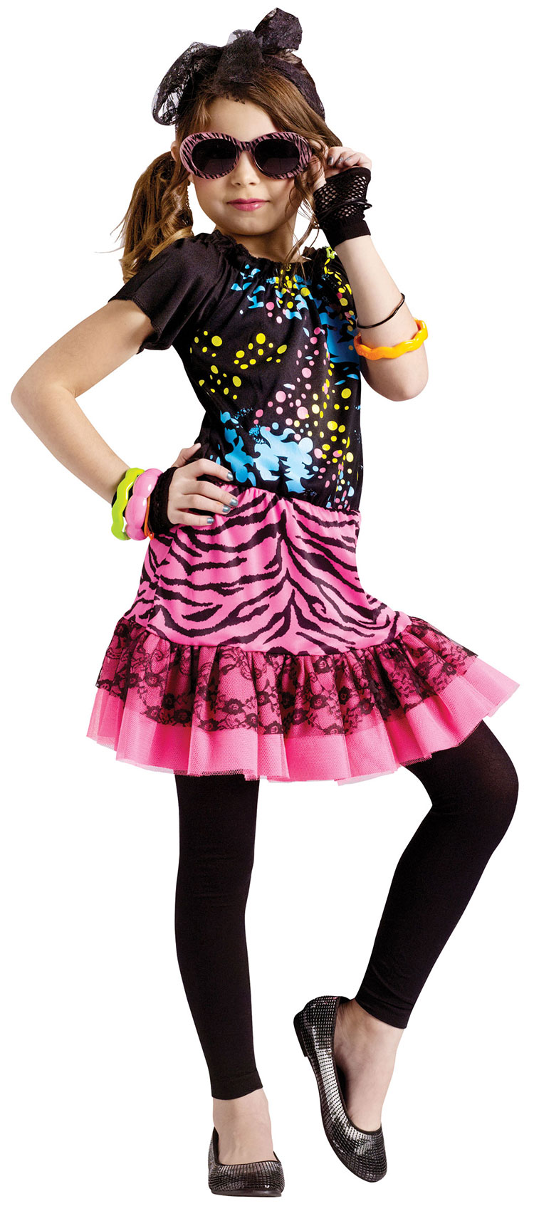 Girls 80's Pop Star Diva Costume