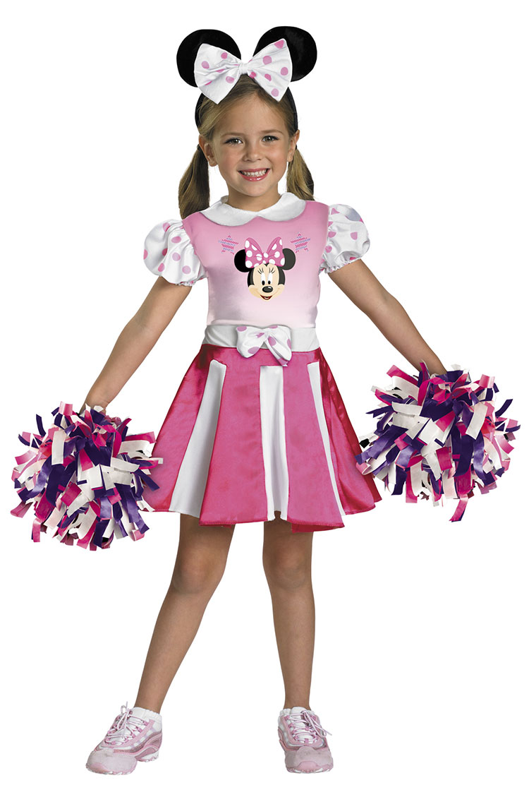Girls and Toddler Minnie Mouse Cheerleader Costume