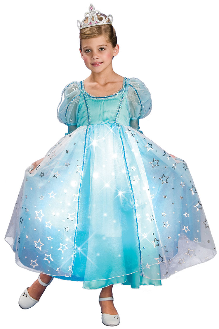 Girls Blue Liteup Princess Costume