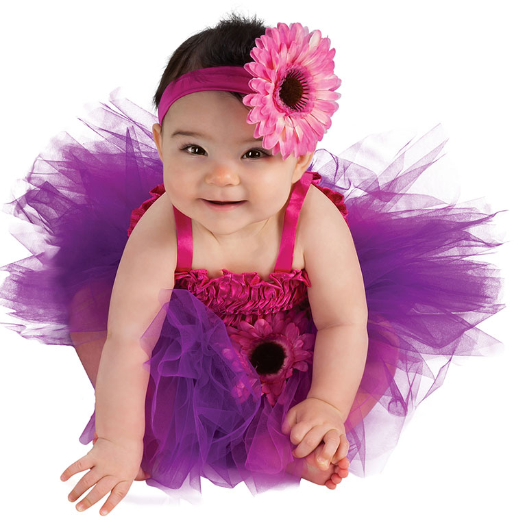 Baby Pink And Purple Flower Tutu Costume