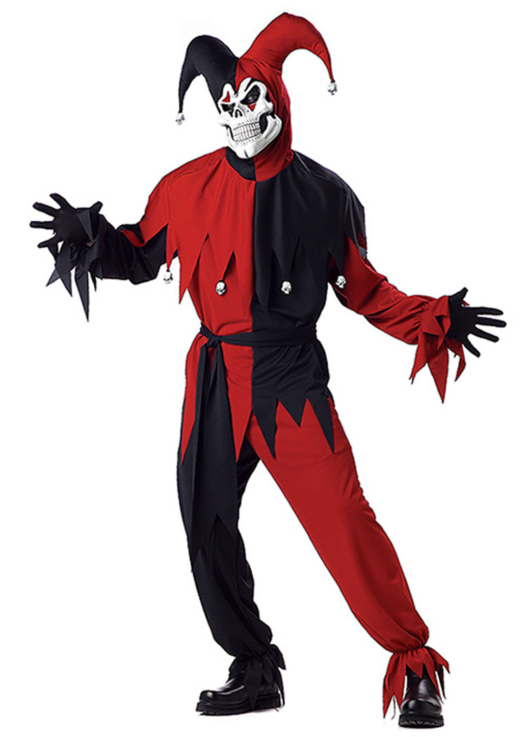 Red And Black Evil Jester Costume