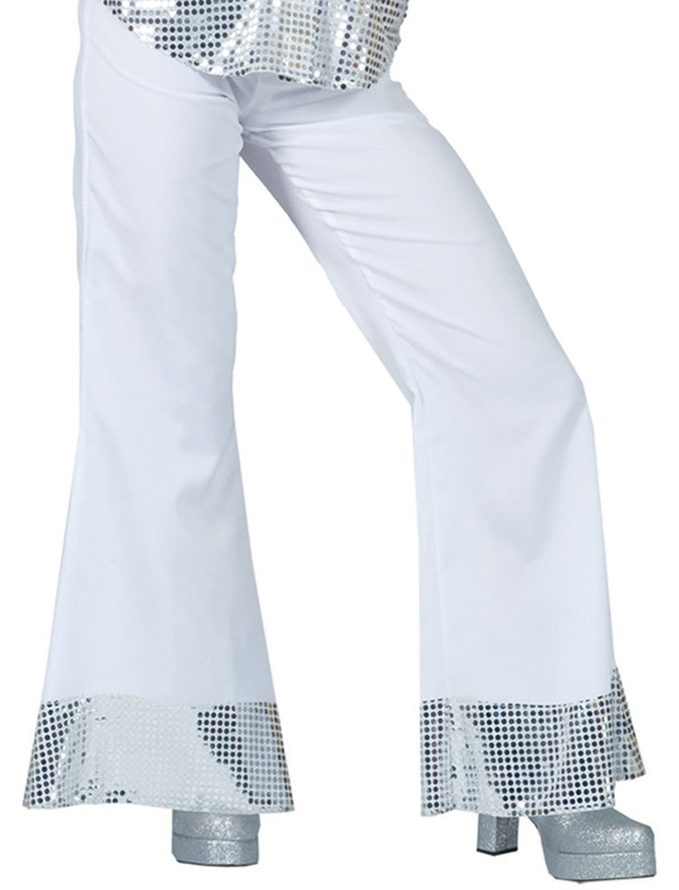 White Disco Pants With Sequin Cuff