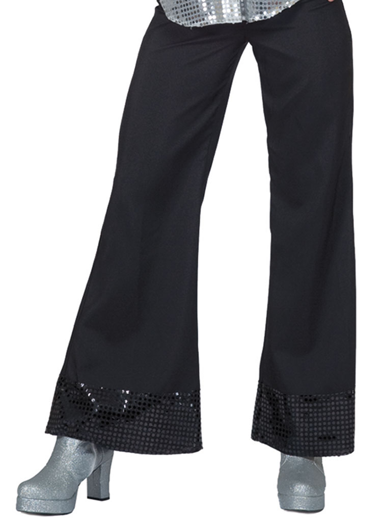 Black Disco Pants With Sequin Cuff