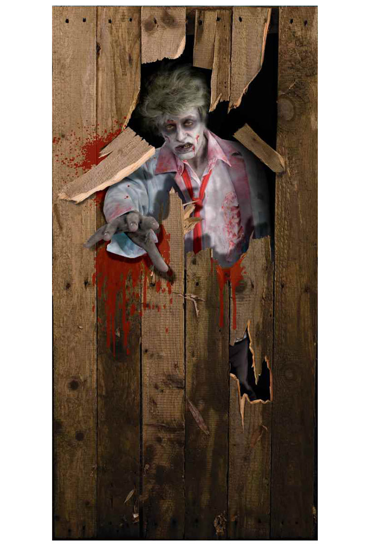 Scary halloween door decorating contest ideas - Zombie Door Cover