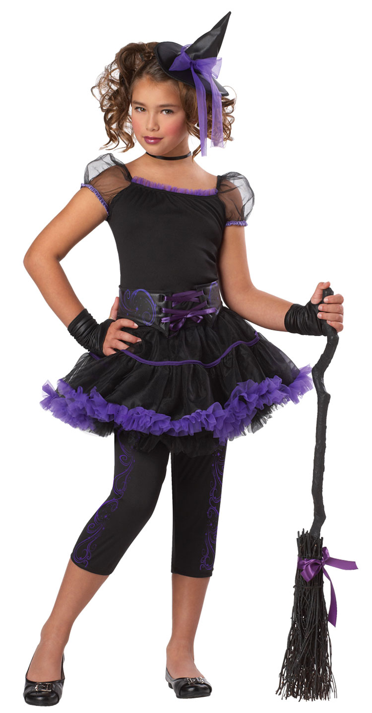 Girls Purple Stardust Witch Costume