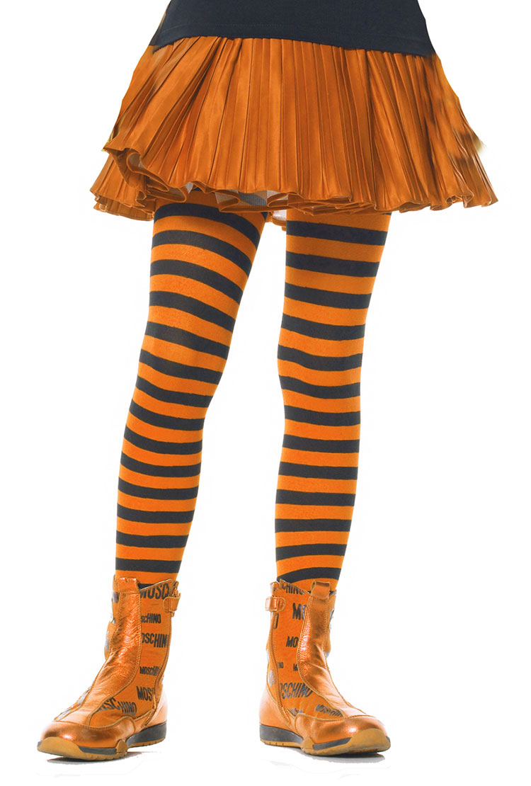 Girls Orange And Black Striped Tights