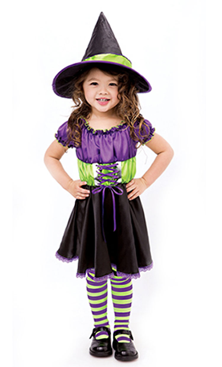 Girls Colorful Witch Costume