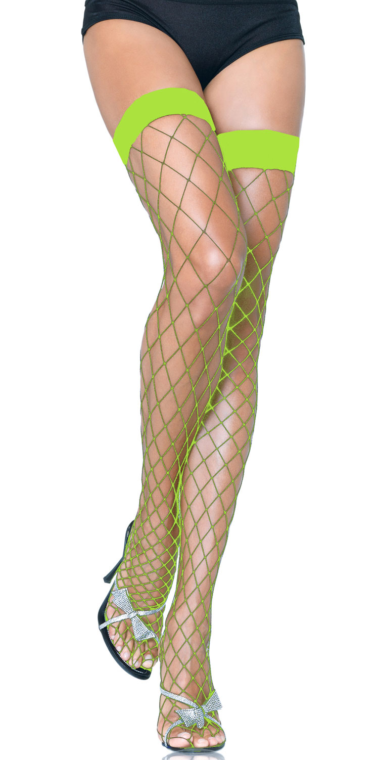 Lime Green Fence Net Thigh Highs