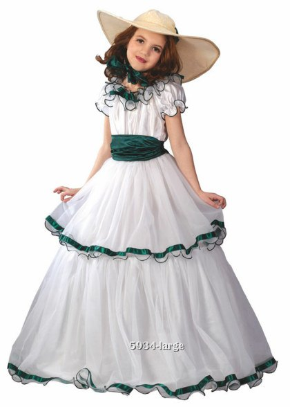 Girls White Southern Belle Costume