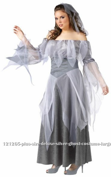 Plus Size Deluxe Silver Ghost Costume