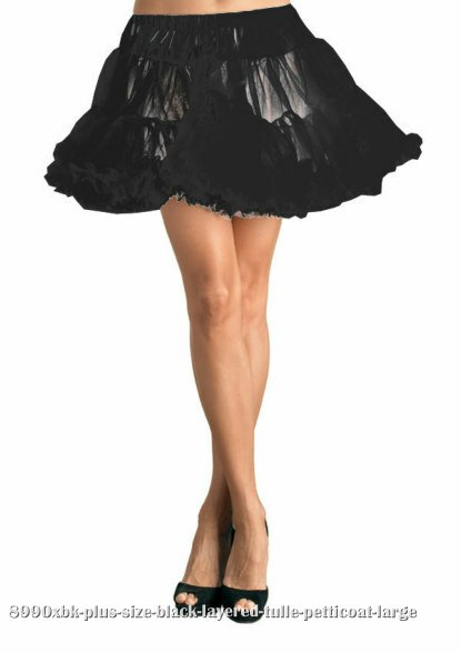 Plus Size Black Layered Tulle Petticoat