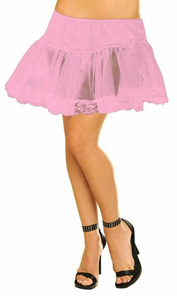 Plus Size Pink Petticoat With Lace Trim