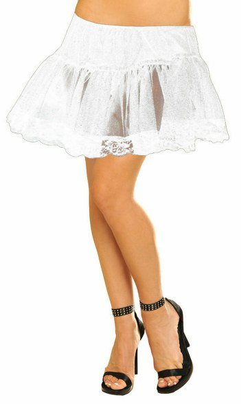 Plus Size White Petticoat With Lace Trim