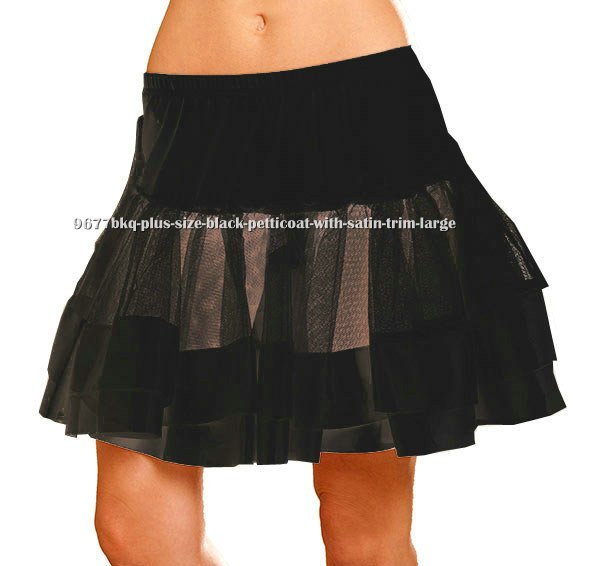 Plus Size Black Petticoat With Satin Trim