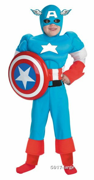 Deluxe Kids Muscle Captain America Costume