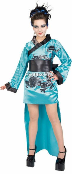 Teen Teal Dragon Lady Costume