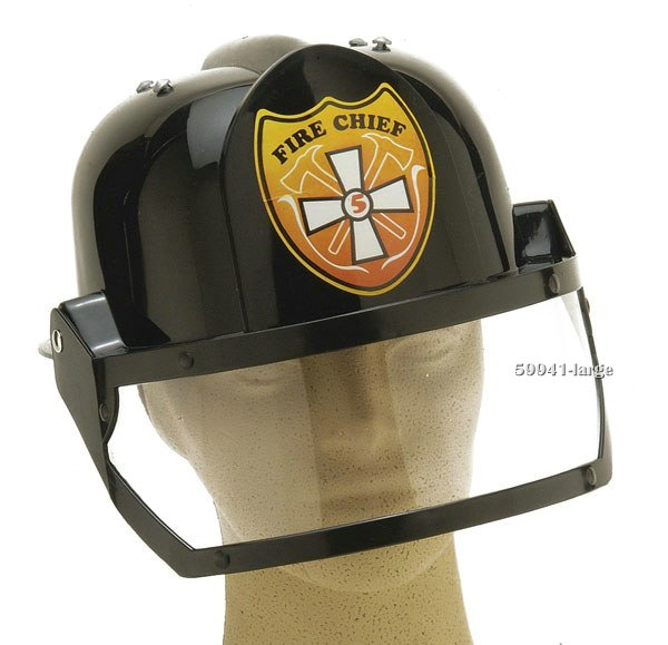 Deluxe Adult Black Fireman Hat