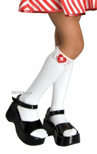 Girls White Knee Highs with Heart