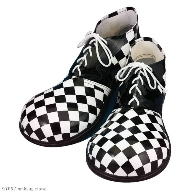 Checkerboard Large Clown (Black/White) Adult Shoes