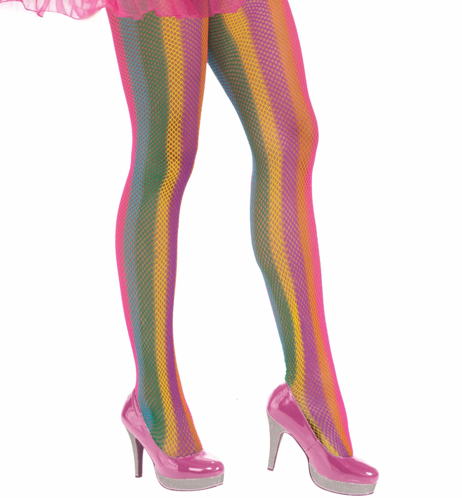 Circus Sweetie Rainbow Striped Fishnet Panty Hose
