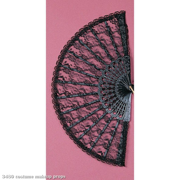 "Lace Fan 9"" (Black)"