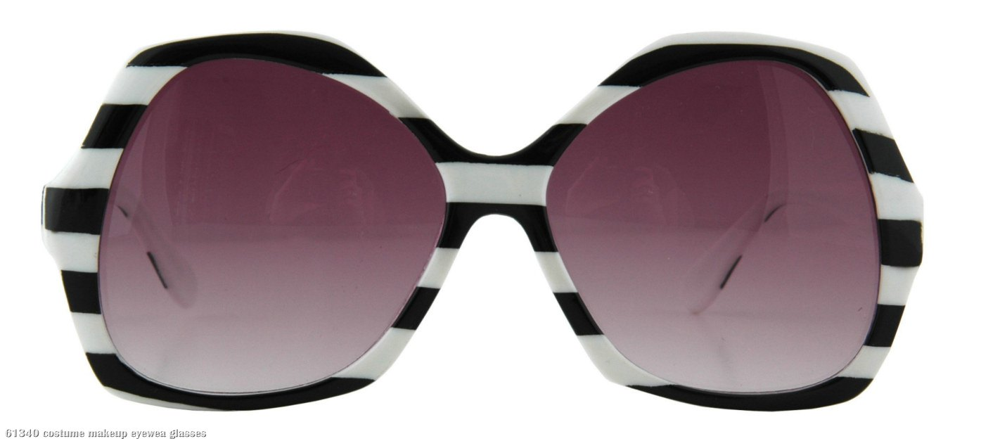 Catty Black and White Striped Adult Sunglasses