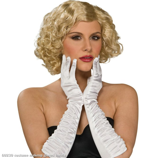 White Stretch Elbow Gloves Adult