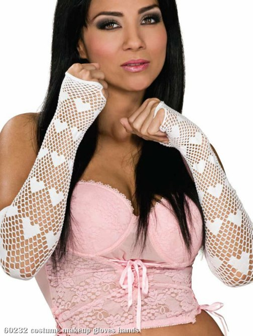 Fingerless Netted Heart Gloves White
