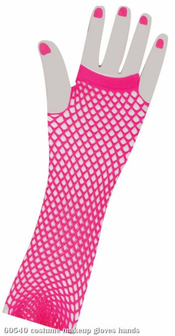 80's Neon Pink Long Fishnet Adult Gloves