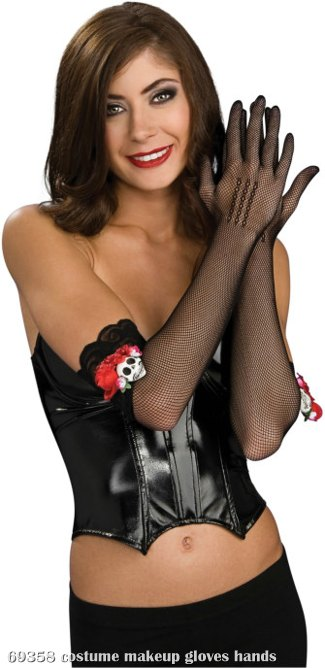 Long Fishnet Gloves With Skulls And Roses Adult