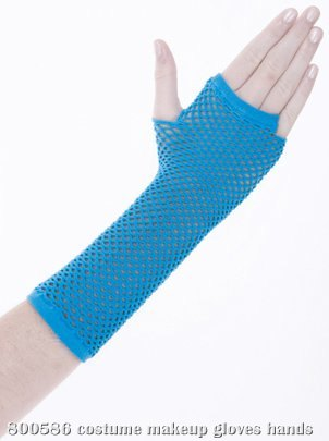 Neon Blue Fingerless Gloves Adult