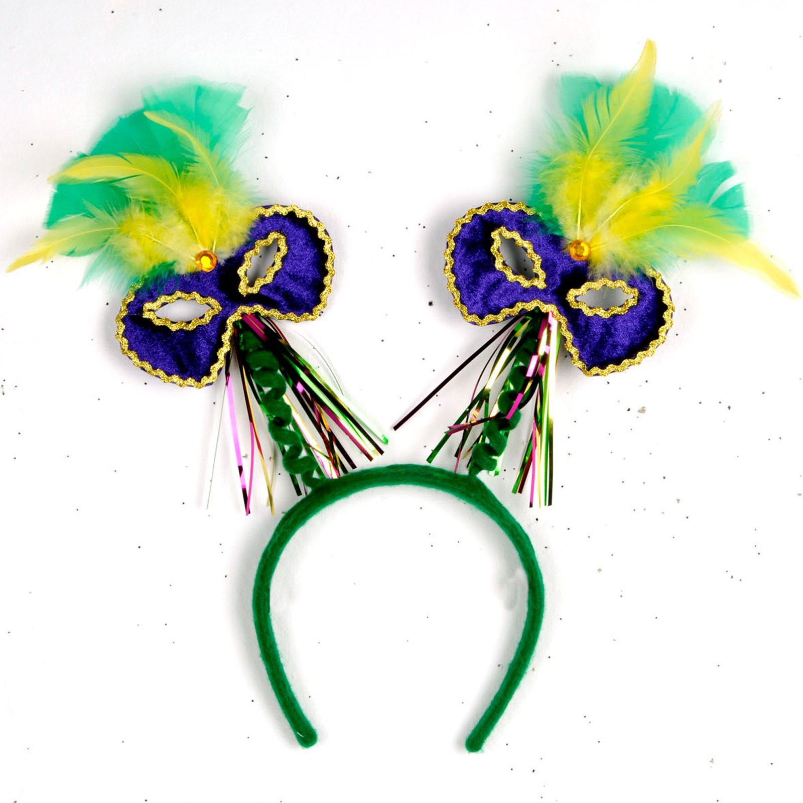 Feathered Mardi Gras Head Bopper