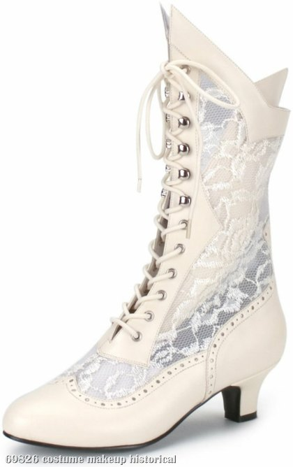 Lace Victorian Tall Boots Adult Ivory