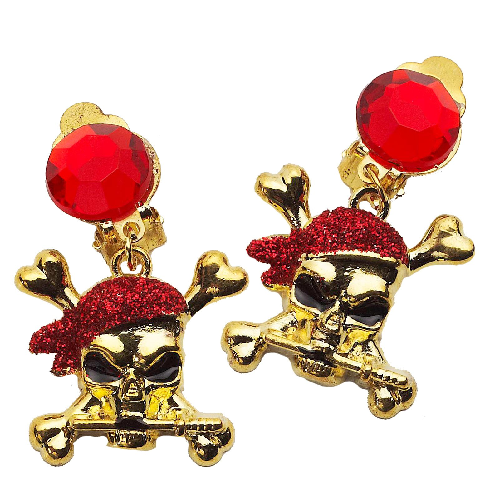 Buccaneer Beauty Red Glitter Adult Earrings