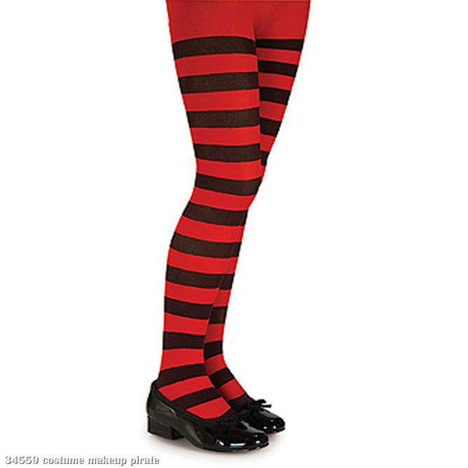 Black and Red Striped Tights - Child