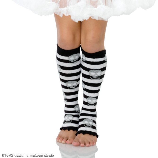 Striped Glitter Skull Child Leg Warmers