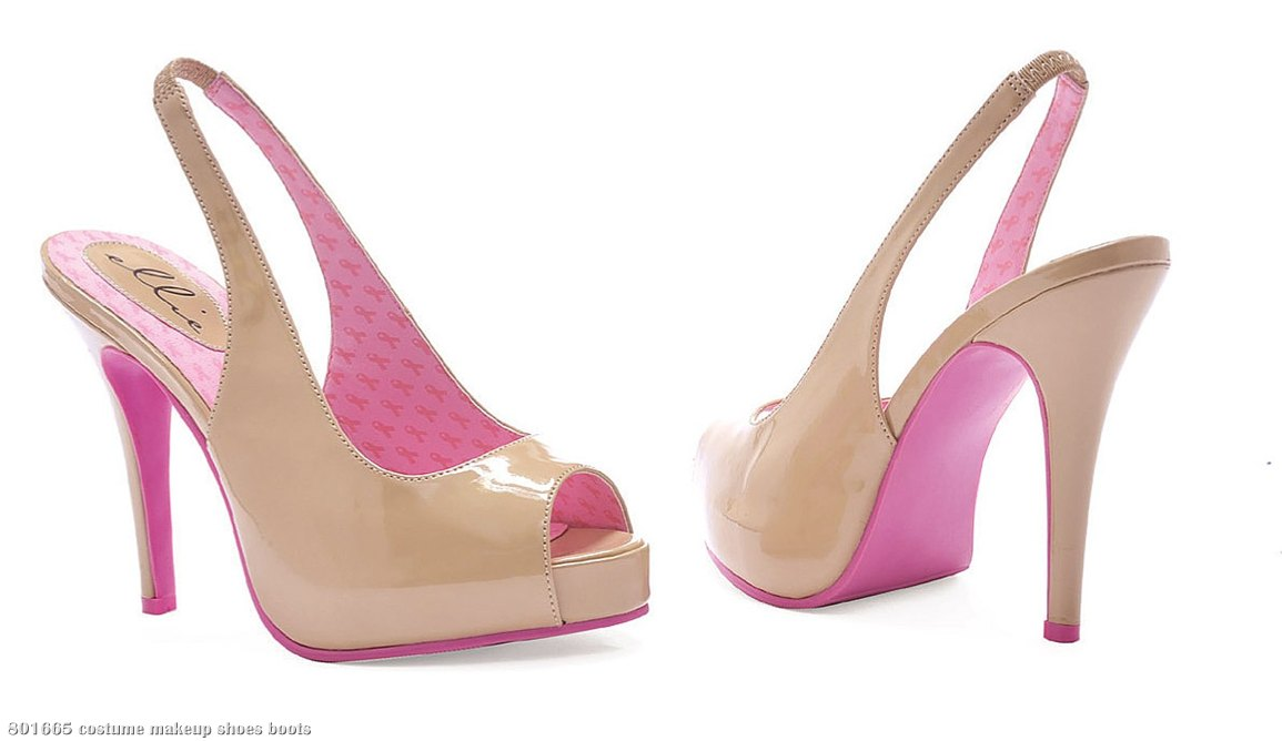 Pink Ribbon Cancer Awareness - Nude Peep-Toe Sling-Back Shoes