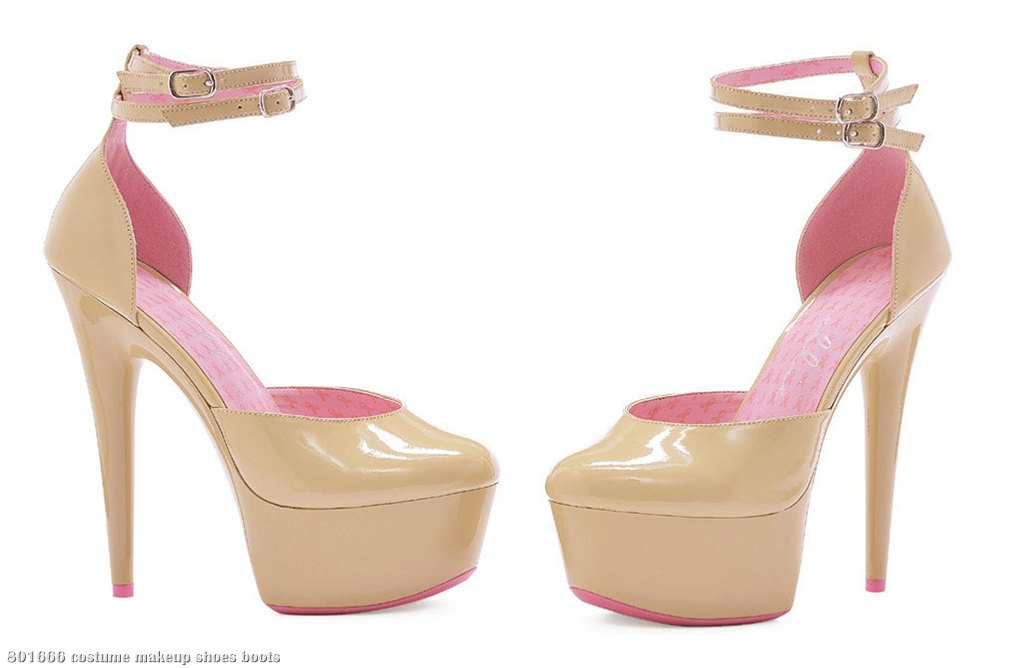 Pink Ribbon Cancer Awareness - Nude Platform Shoes