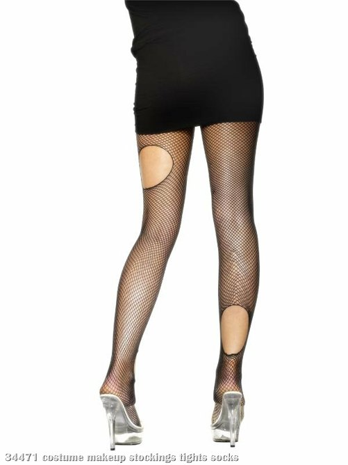 Fishnet Tights Ripped Design Black - Adult