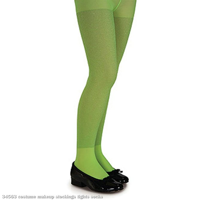 Lime Green Glitter Tights - Child