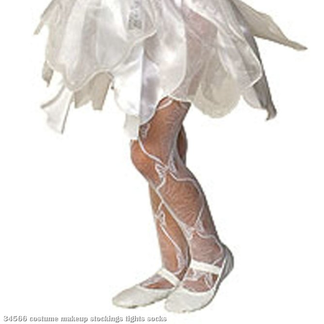 Mesh Bow Tights White - Child