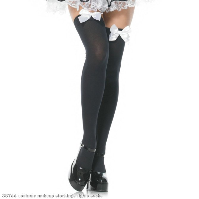 Black Opaque Thigh High With White Bow - Adult
