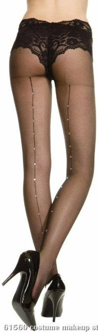 Sheer Pantyhose With Rhinestone Back Seam (Black) - Adult