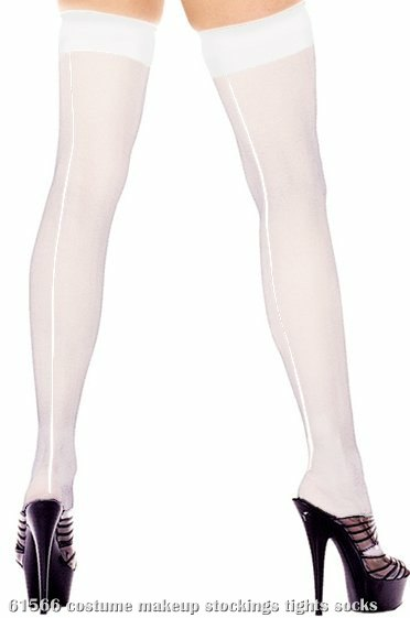 Sheer Thigh Hi With Backseam (White) - Adult Plus