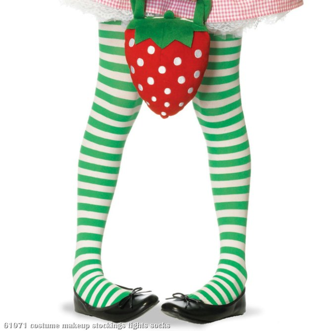 Green/White Striped Tights Child