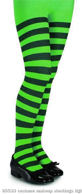 Green and Black Striped Tights - Child